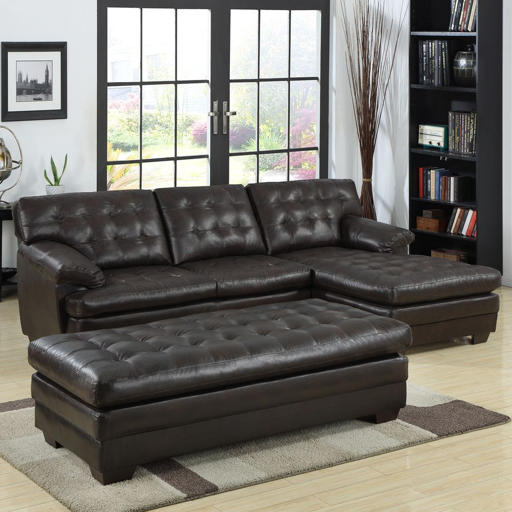 Super Delphine Dark Brown Bonded Leather Sectional Set 1379 W Caraccident5 Cool Chair Designs And Ideas Caraccident5Info