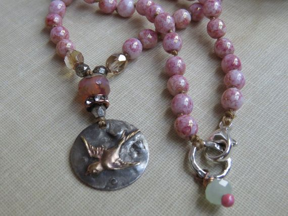 Romantic Mixed Metal Sparrow Pendant Necklace, Pink Topaz Luster Czech Glass Beaded, Boho-Chic Artisan Sparrow Pendant Necklace on Etsy, $72.00