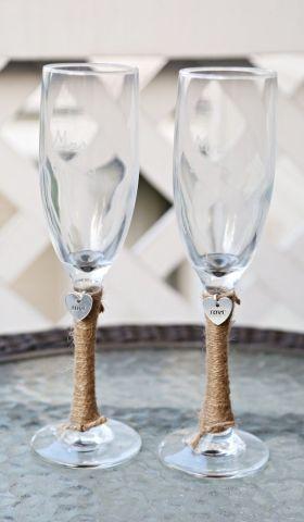 2 Personalized Wedding Glass Flutes Amp Charm Custom Shabby