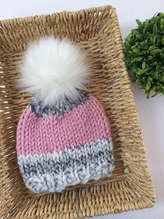 b35b3f11ab0 Chunky Knit Winter Hat    Knit Baby (0-12 mo) Beanie    Knit Adult ...