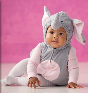 8a3cab5e0 Carter's Elephant Halloween Costume 3 Pieces Gray Pink Hooded Top Shirt  Tights NEW (12 months