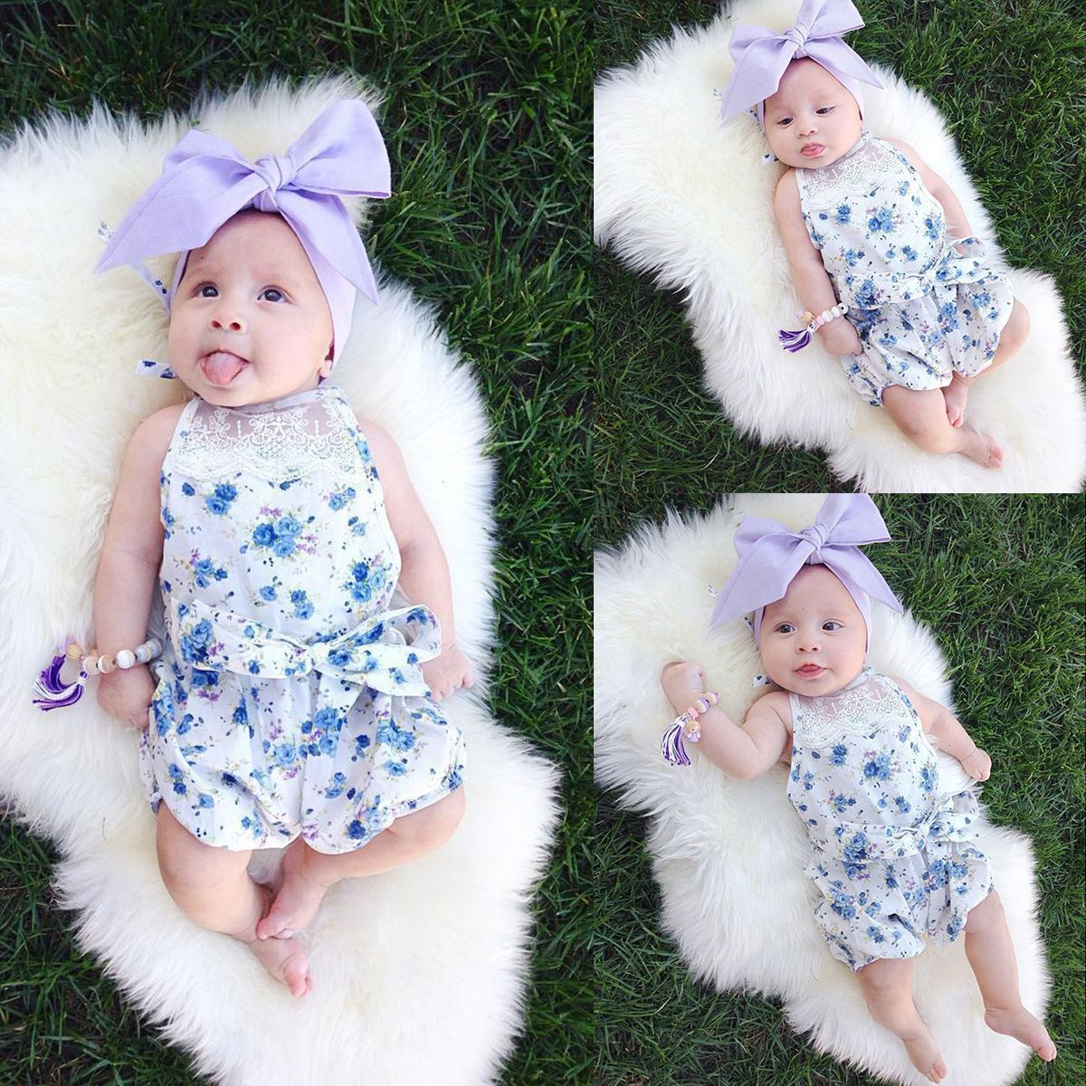 f5409adee41a51 Fashionable and cute romper for your baby girl Blue floral make your baby  like a fairy.