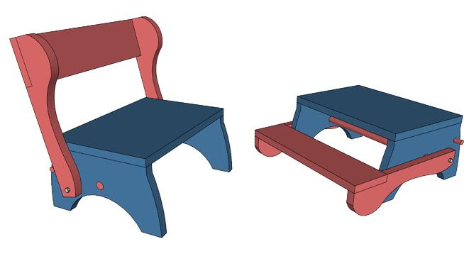Large Preview Of 3d Model Of Child S Step Stool And Seat