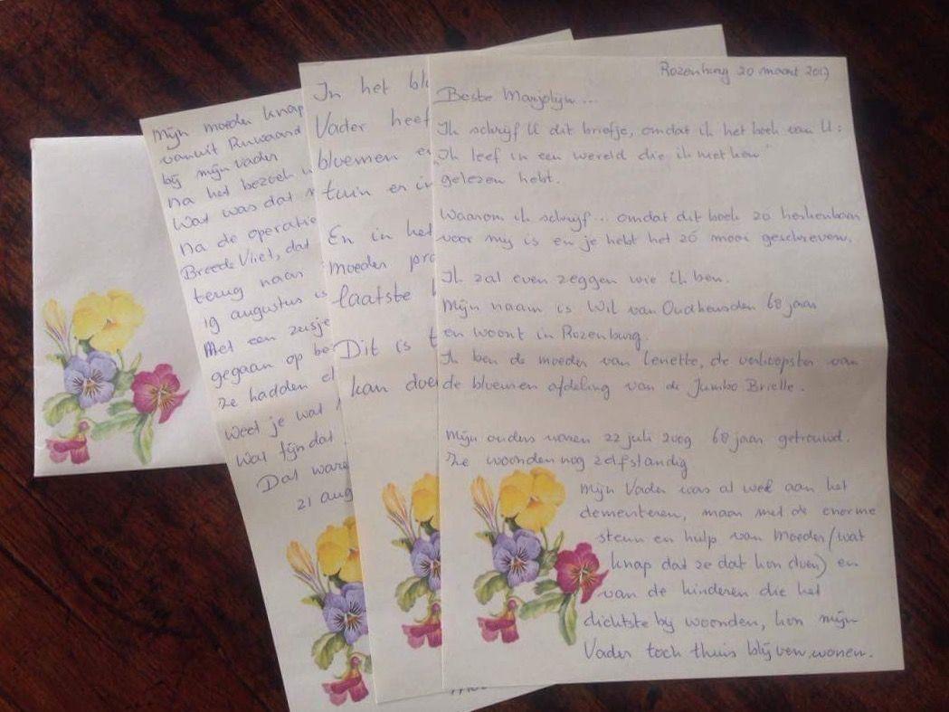Fanmail, een handgeschreven brief ontvangen over mijn boek. #dementie #alzheimer #mantelzorg #boek #boekdementie