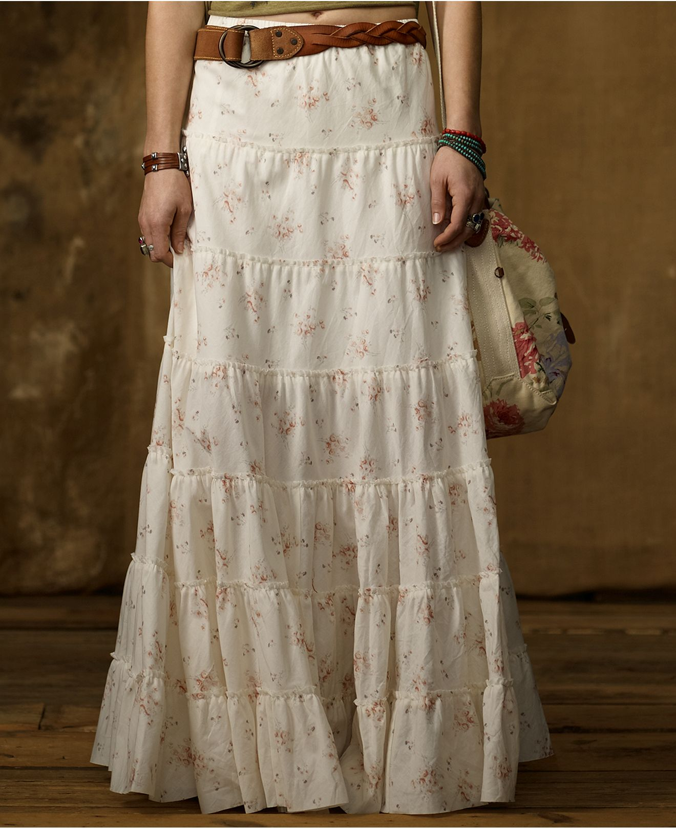 Denim & Supply Ralph Lauren Skirt, Floral-Print Tiered Maxi ...