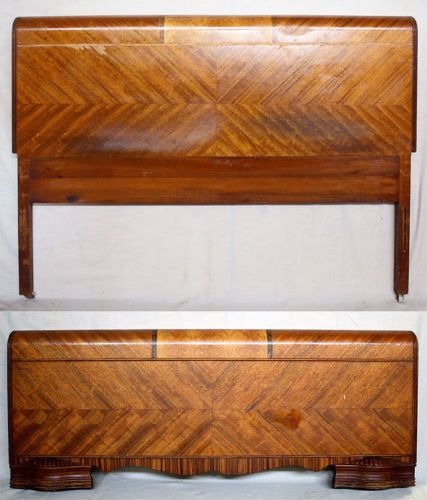 Vintage Art Deco Waterfall Wood Full Size Bed Frame Head Foot