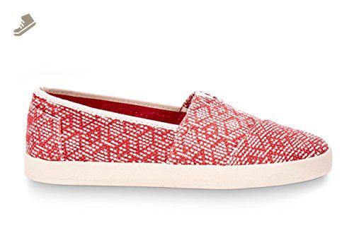 b240b66fc8fcf TOMS Women's Avalon Slip-On Red Textured Canvas Diamond Sneaker 6.5 ...