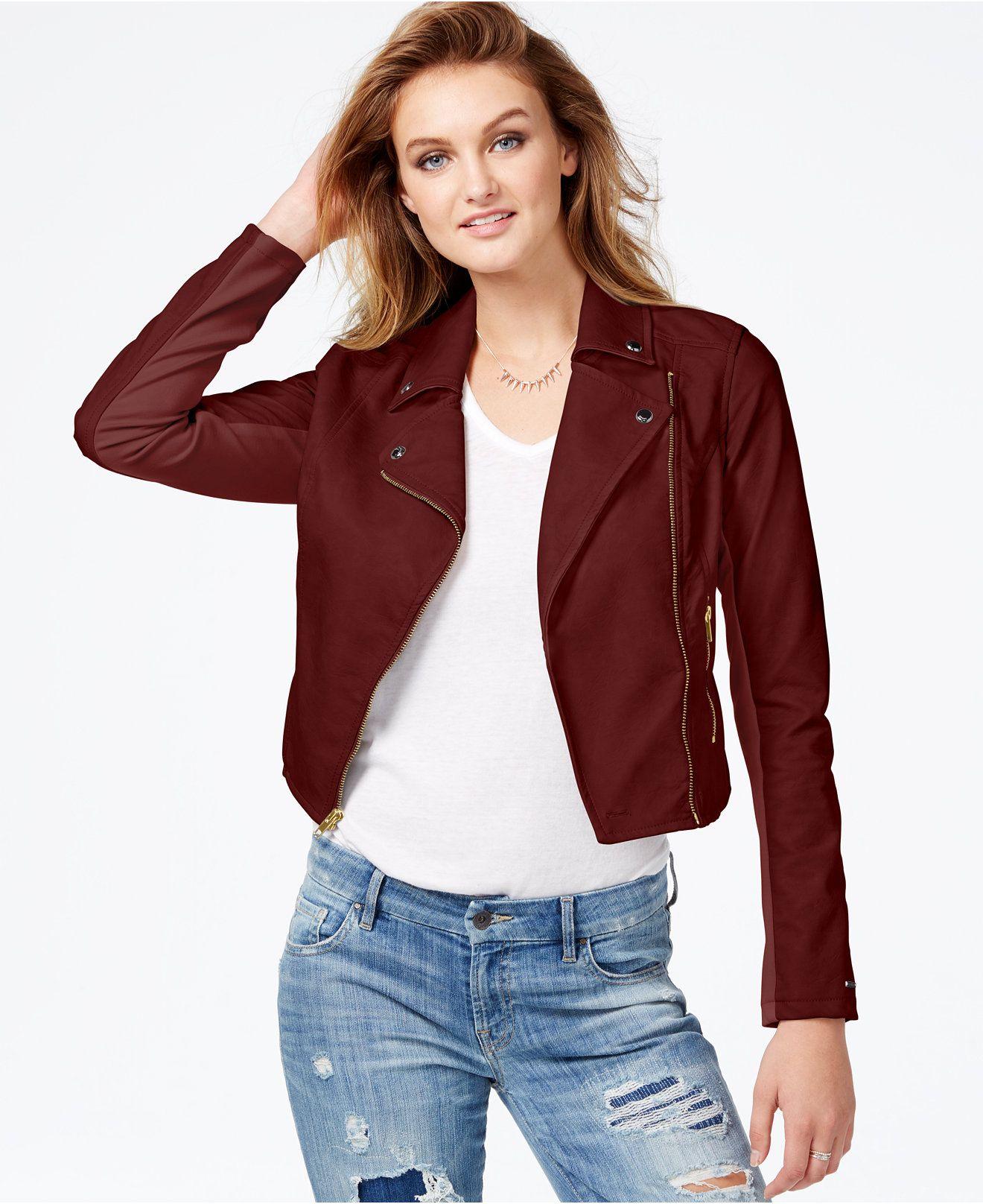GUESS FauxLeather Contrast Moto Jacket Jackets