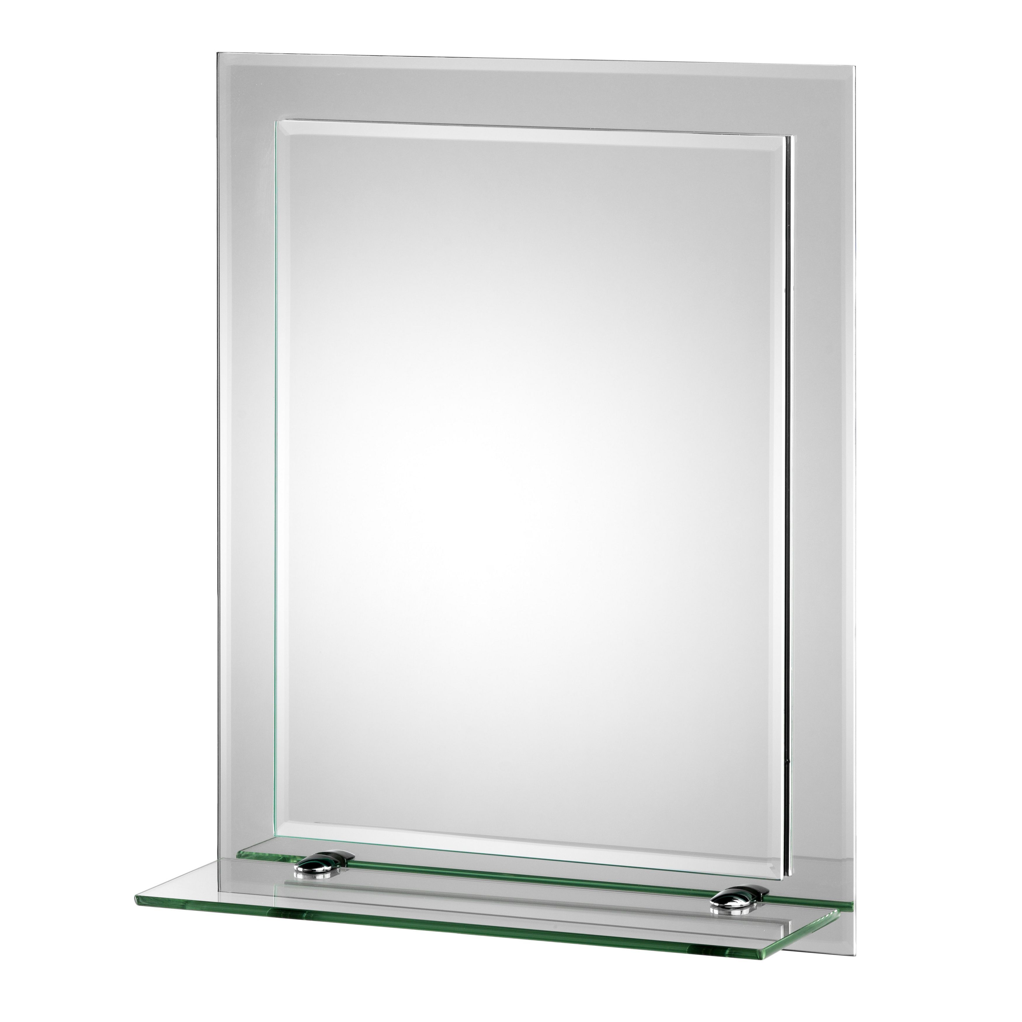 Croydex rydal beveled edge double layer wall mirror with shelf and