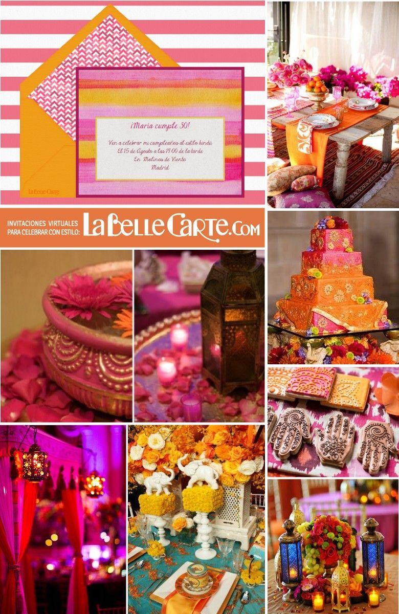 Invitaciones de cumplea os e ideas para celebrar una fiesta estilo hind mesas fiestas hindu - Decoracion indu ...