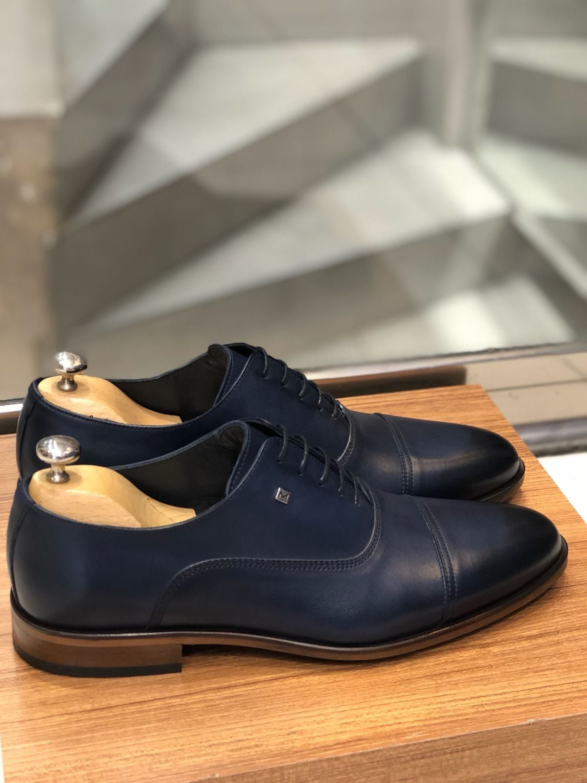 Buy Dark Blue Calf Leather Oxford by with in