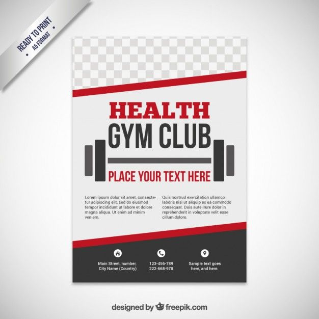 Health Gym Club Free Vector Flyers Pinterest Brochure Template
