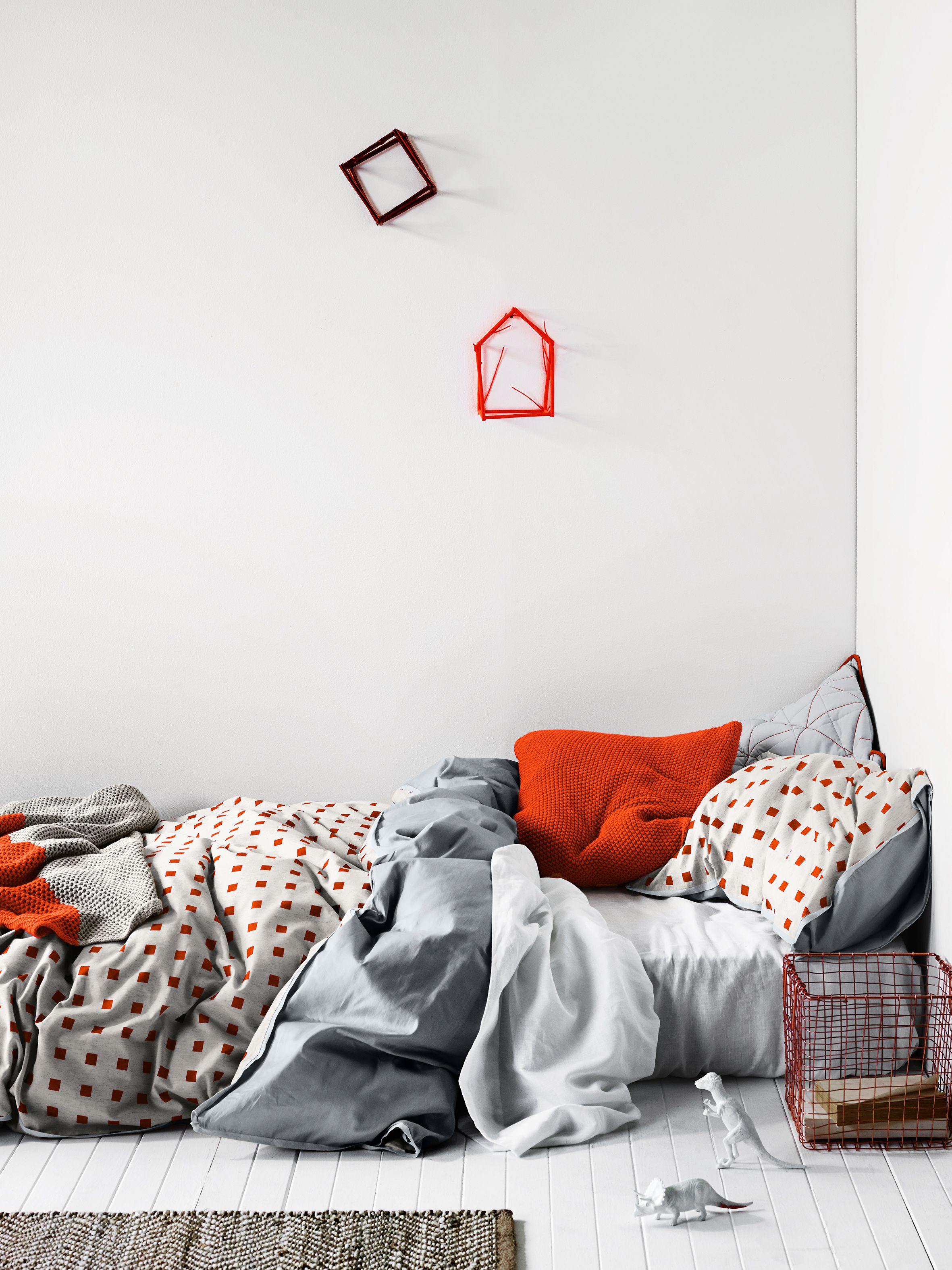 AURA Home Squares in Fiery Coral quilt cover, Winter 2015
