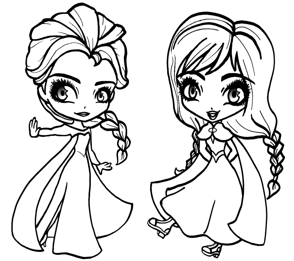 Deviantart more like chibi anna and elsa from frozen for Coloring pages for frozen characters