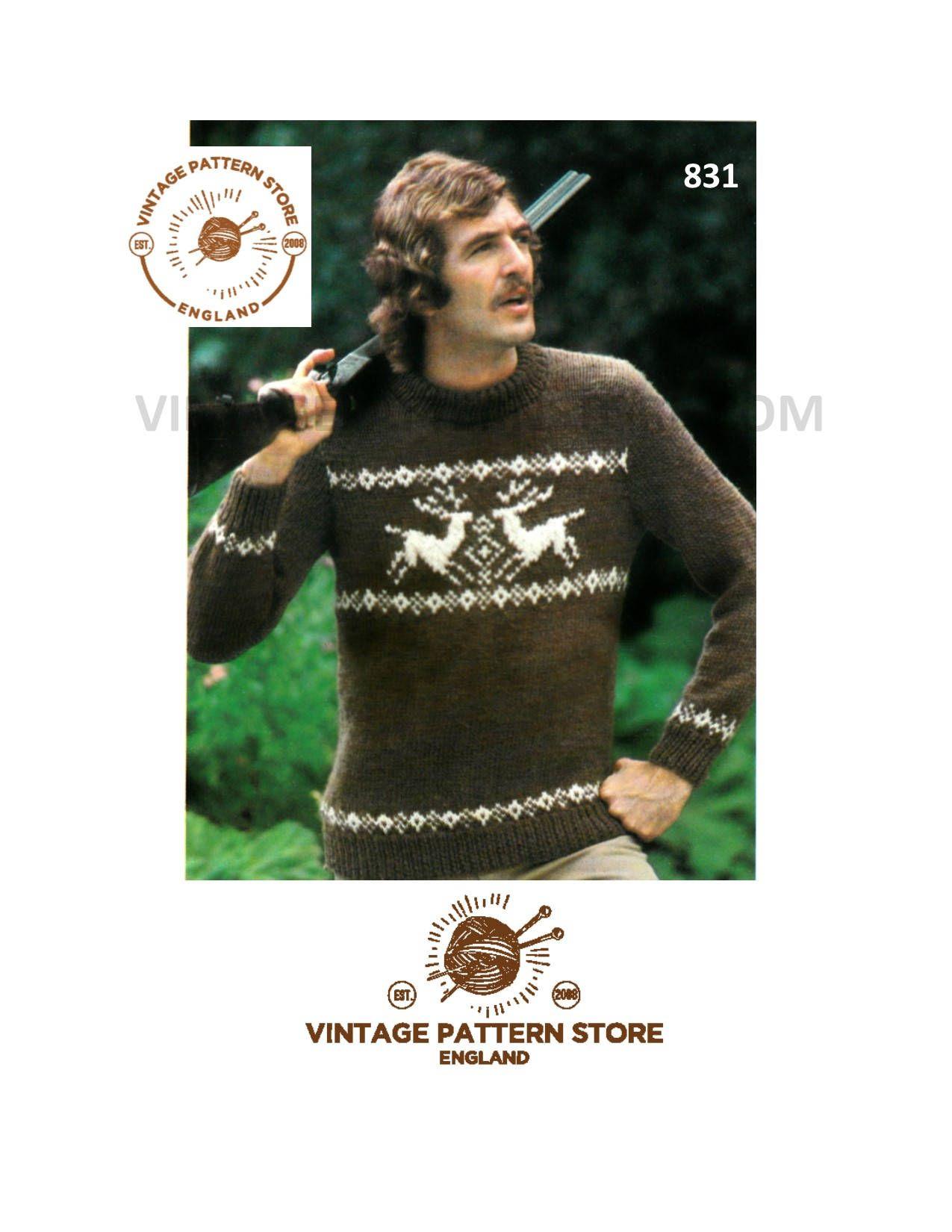 Childs Boys Snow Ski Scene Sweater Jumper Knitting Pattern DK