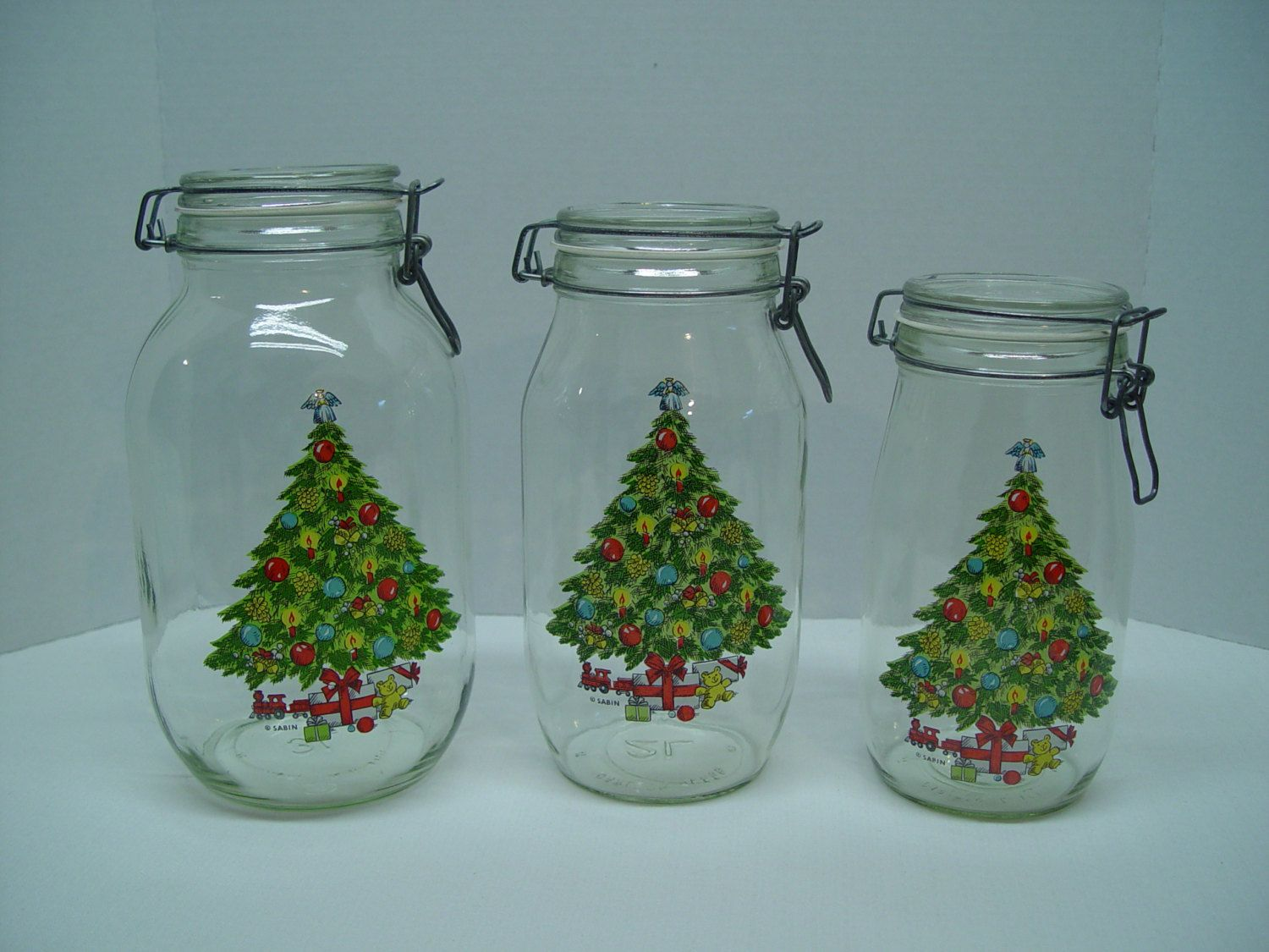 Set of 3 Hermetic Glass Storage Jars, Christmas Canisters, Sabin ...