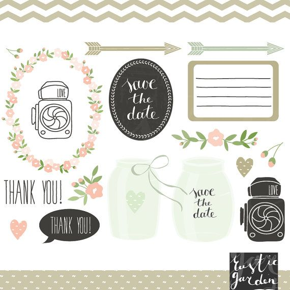 items similar to mint green mason jar clipart floral digital wedding clip art eps png flowers cameras labels frame bow save the date thank you on