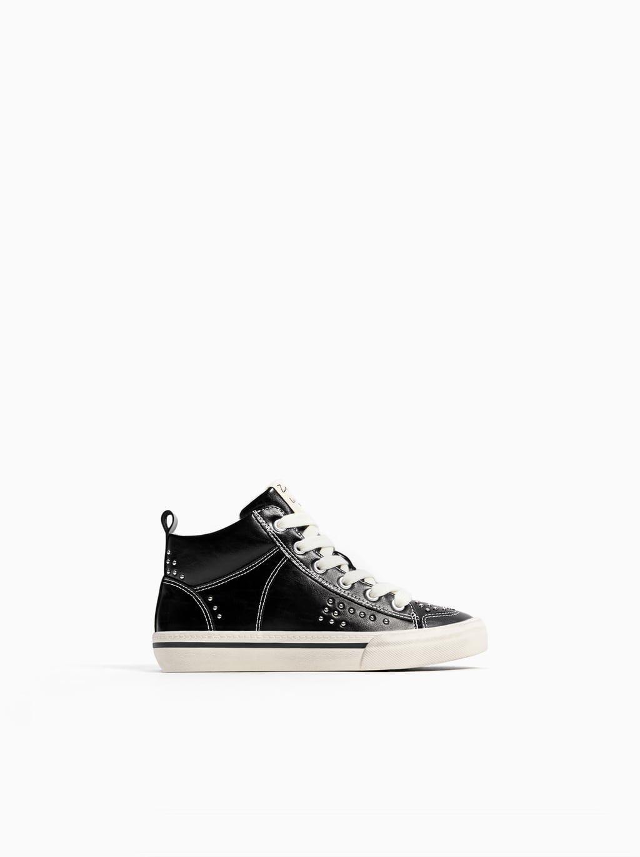 Trzewiki Sportowe Nabijane Cwiekami Sneakers Girls Shoes High Top Sneakers