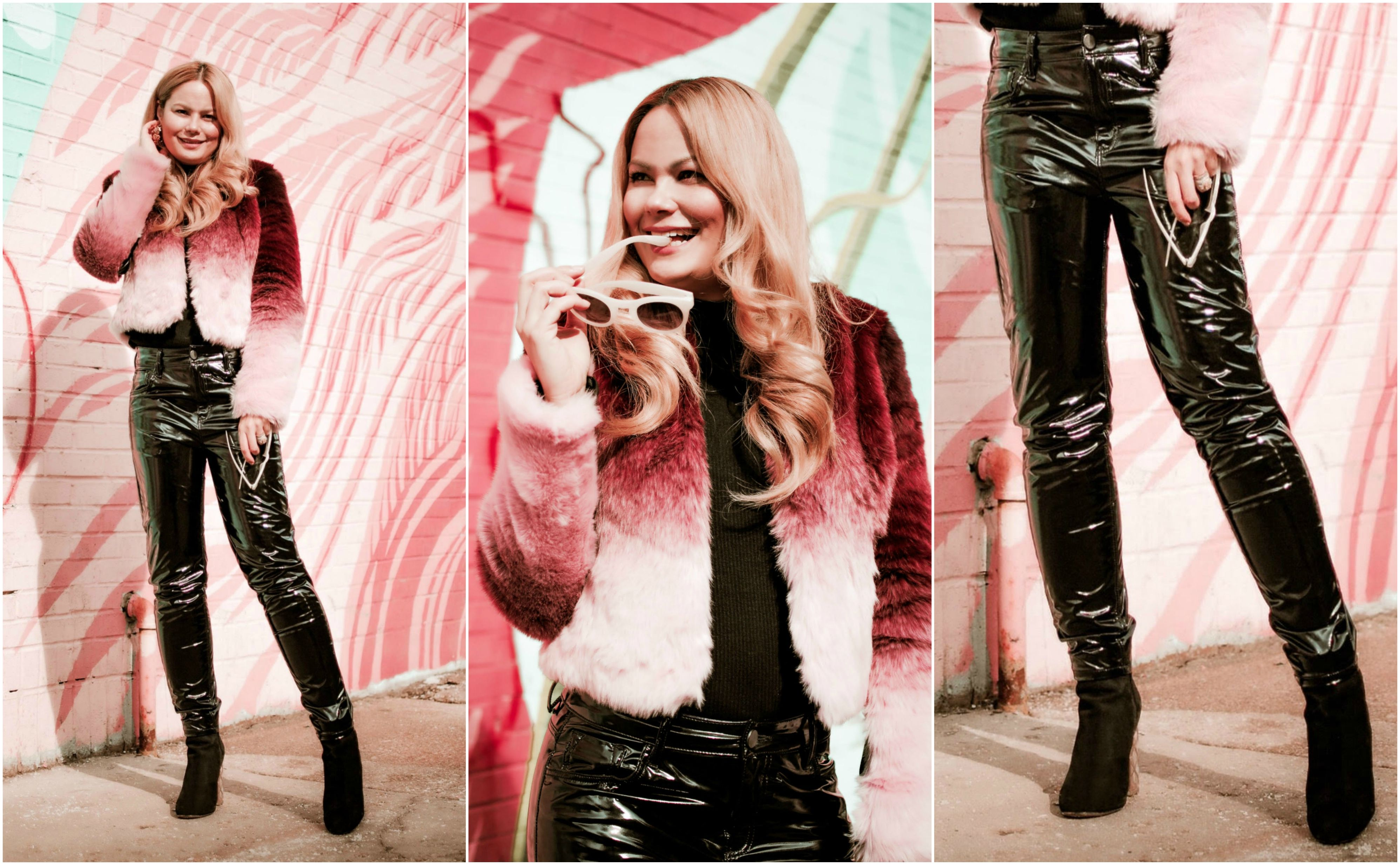 53384994848a Vanessa-Lambert-blogger-What-Would-V-Wear-wears -vinyl-pants-faux-fur-jacket-flamingo-wall-chicago