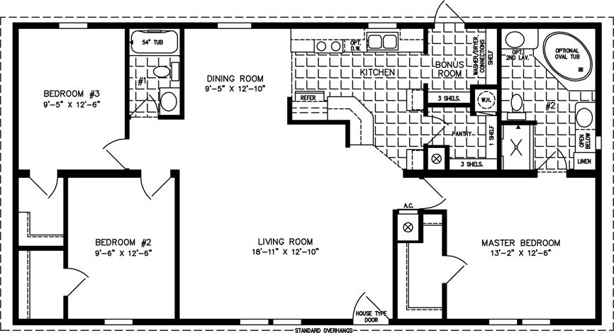 1200 Square Foot Open Floor Plans | ... Imperial IMP 45211B   Manufactured