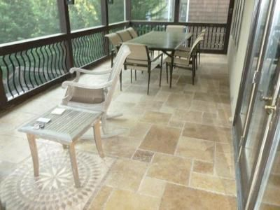 Travertine Tile On Screen Porch Floor Outdoor Home Ideas