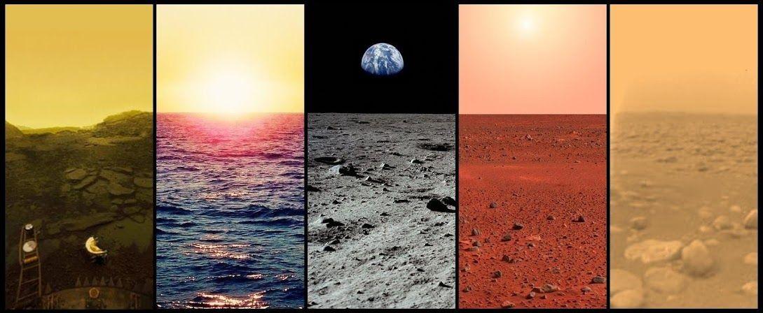 The horizons of Venus, Earth, Earth's Mon, Mars and Titan.