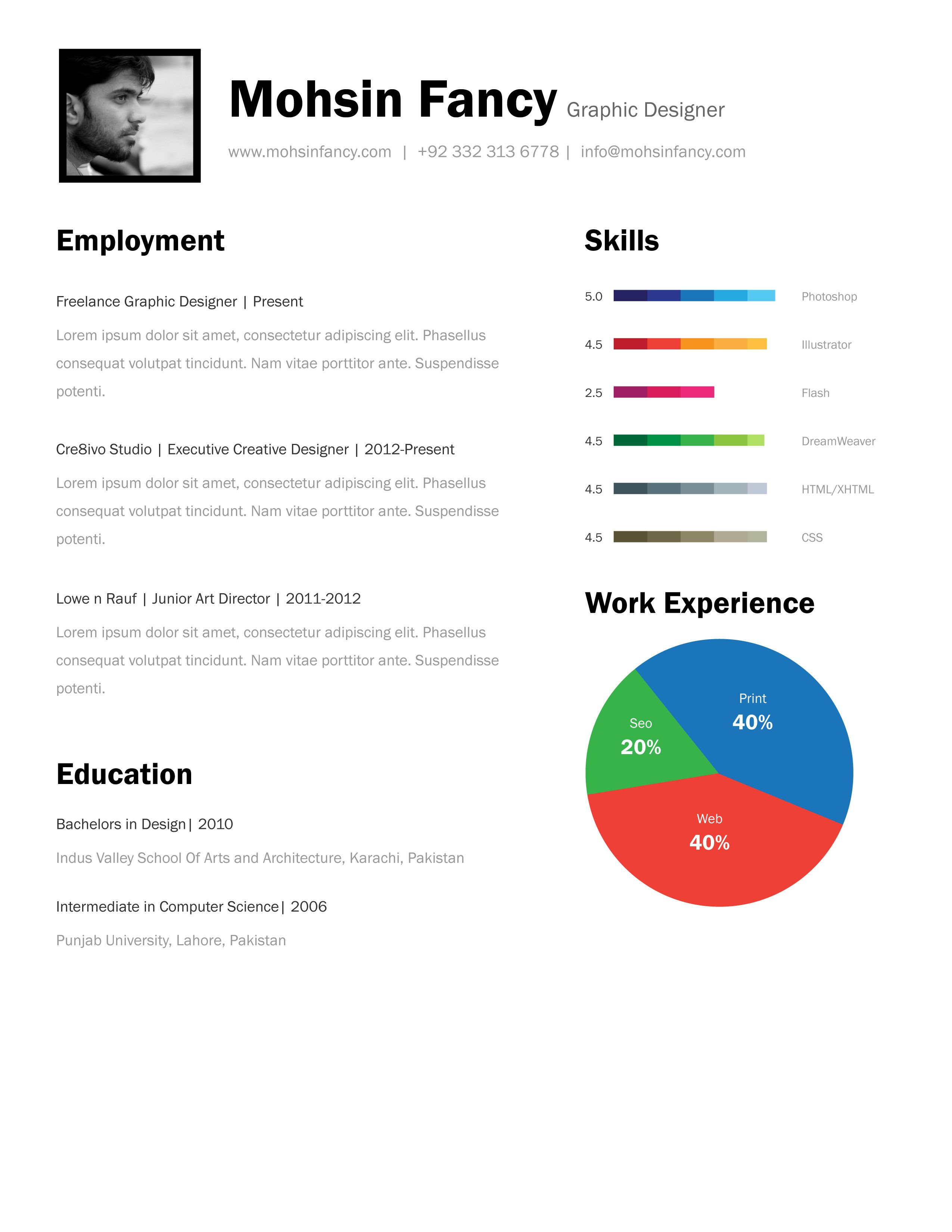One Page Resume Template Free Download One Page Resume Template ...