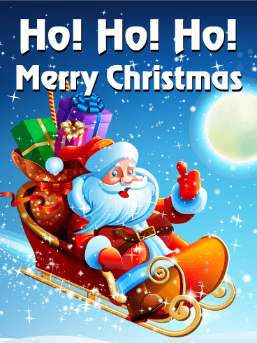 Ho Ho Ho Merry Christmas.Here Comes Santa Clause Ready To Deliver His Gifts To The