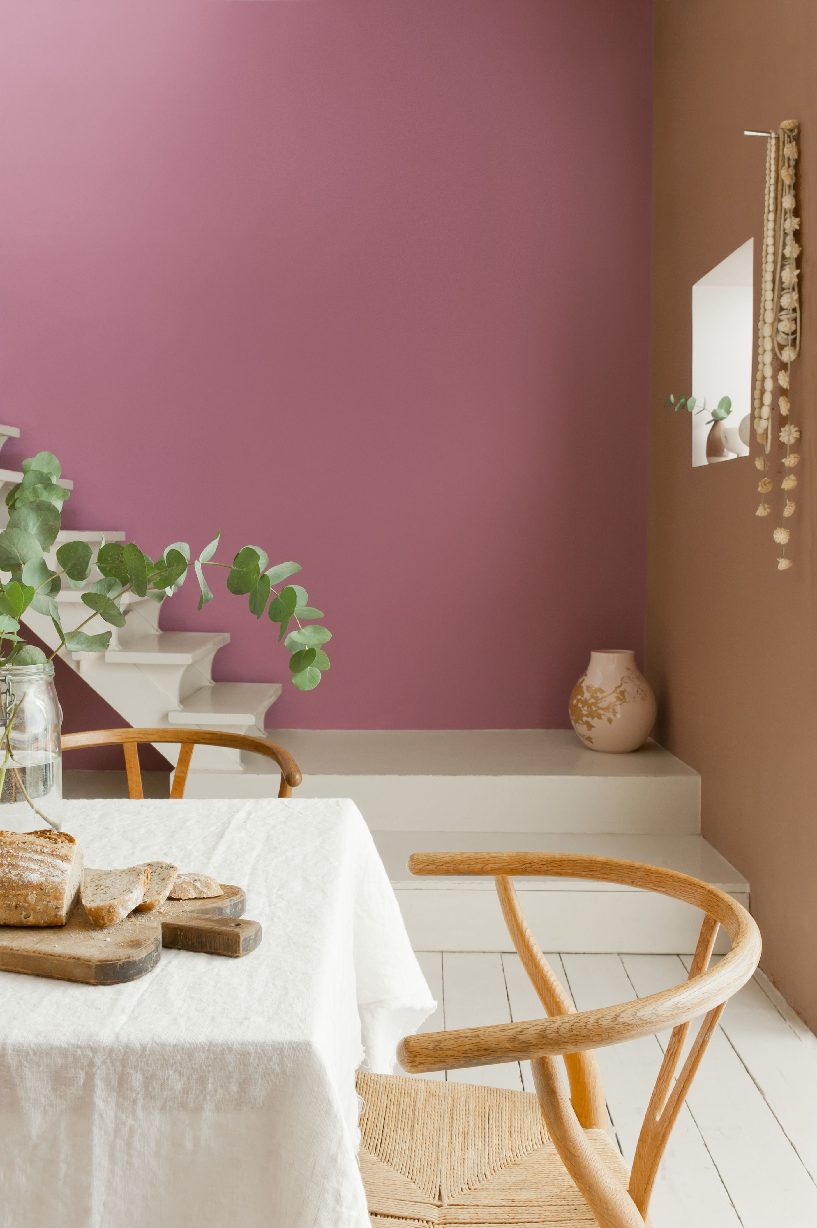 Here We See Soft Blush Used With Sugary Parisian Cream Both From The Dulux Easycare Range Colour Inspiration Dini Home Decor Colorful Interiors Taupe Walls