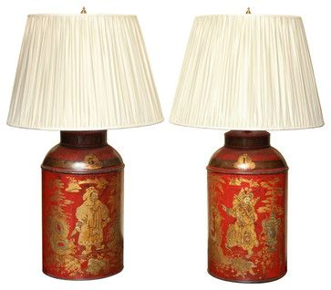 Asian Table Lamps Antique Pair Regency Chinoiserie Tea Canisters  Asian  Table Lamps