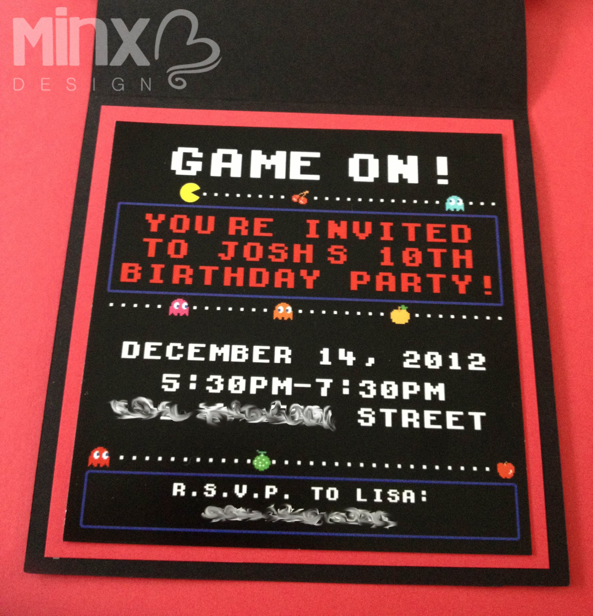 Retro Gamer Card PacMan Style I Used Custom Graphics And A - Birthday invitation video