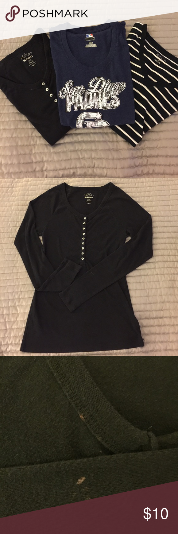 T-shirt bundle 3 size small shirts. One long sleeve black Henley style. Two tiny spots as noted in photo but not really visible. One very soft black and white stripe. Excellent condition. One SD Padre shirt. Also very soft in excellent condition Tops Tees - Short Sleeve