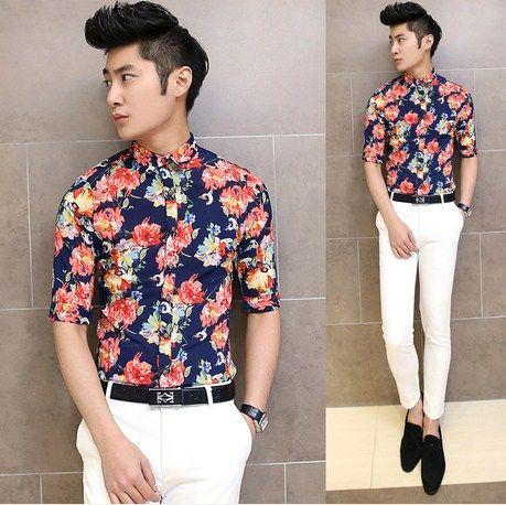 Hot Sale 2014 Summer Young Mens Fancy Flower Shirt Slim Fit Men ...
