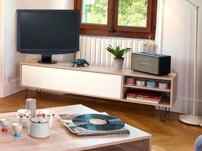 Meuble TV bas en bois avec 1 abattant, 2 niches et pieds métal L165 - Meuble Tv Avec Rangement