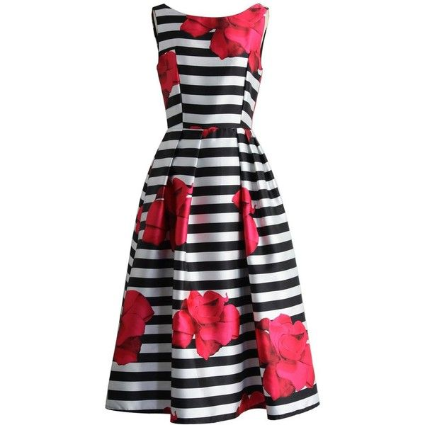 Chicwish Flirty Roses Striped Prom Dress (2,845 MKD) ❤ liked on ...