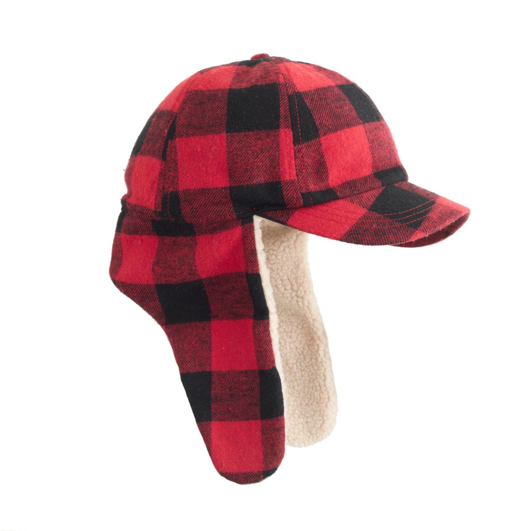8a63453e123 J.Crew kids  trapper hat in red and black buffalo check.