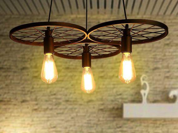 Wheels pendant light industrial lighting for bar farmhouse