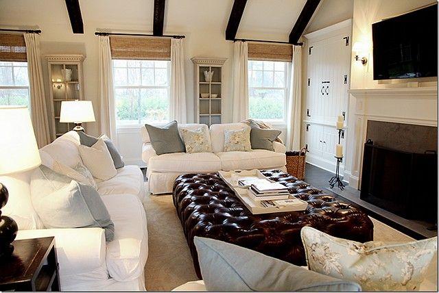 Slipcovered Sofa S And An Enormous Ottoman My Kinda Room Country Modern Home Home Living Room Home