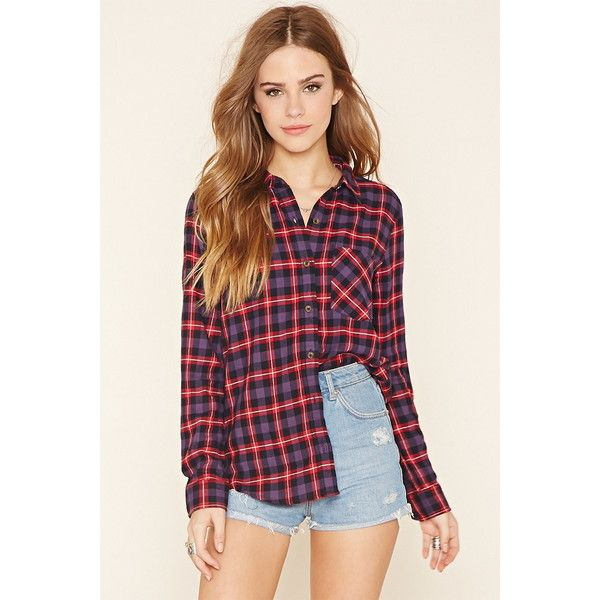 Forever 21 Women's  Plaid Flannel Shirt ($20) ❤ liked on Polyvore featuring tops, tartan plaid shirt, plaid top, flannel shirts, shirt tops and forever 21 tops