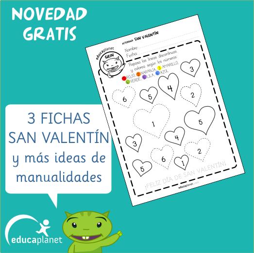 Ficha San Valentin Preescolar colorea con números infantil GRATIS ...