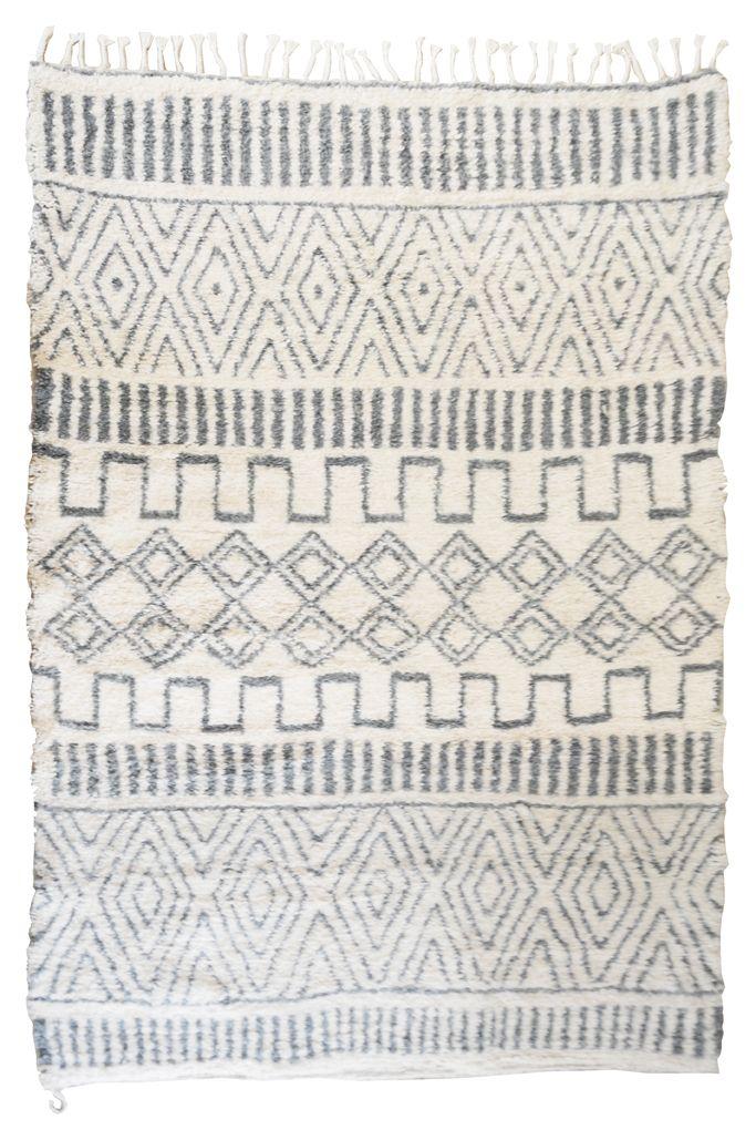 tapis berb re gris et blanc en pure laine fait main. Black Bedroom Furniture Sets. Home Design Ideas