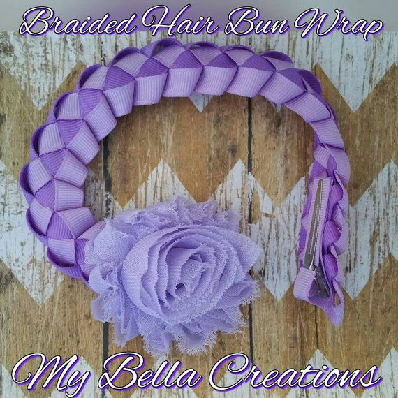 Items similar to Braided Hair Bun Wrap in lavender and purple on Etsy