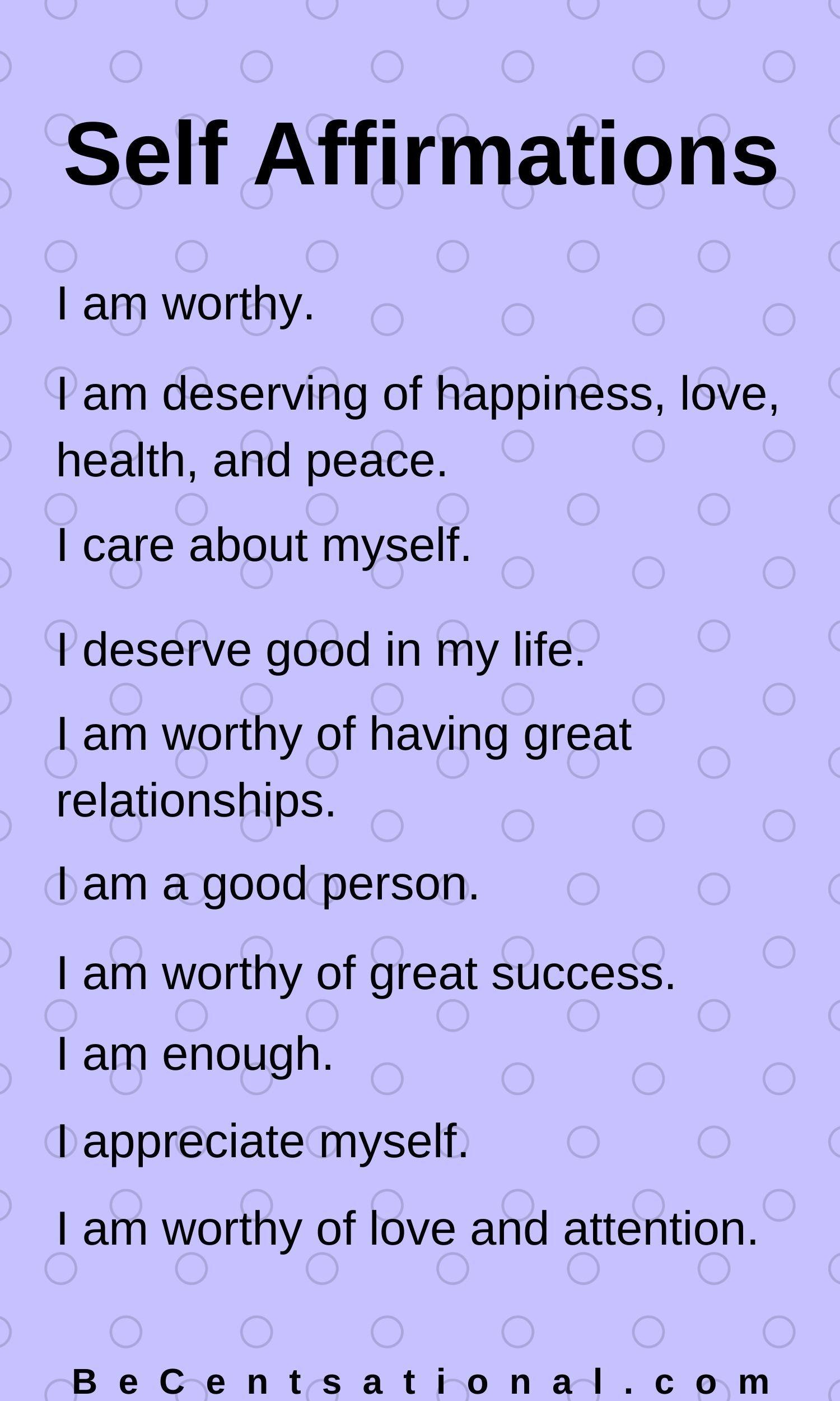 Affirmations Self Worth