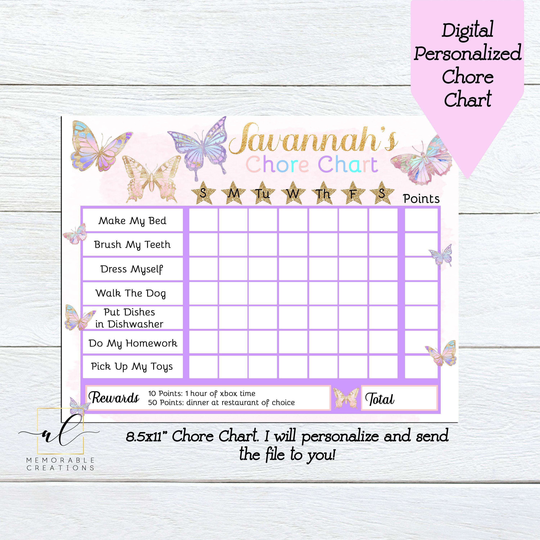 Mermaid Chore Chart Mermaid Reward Chart Instant Download