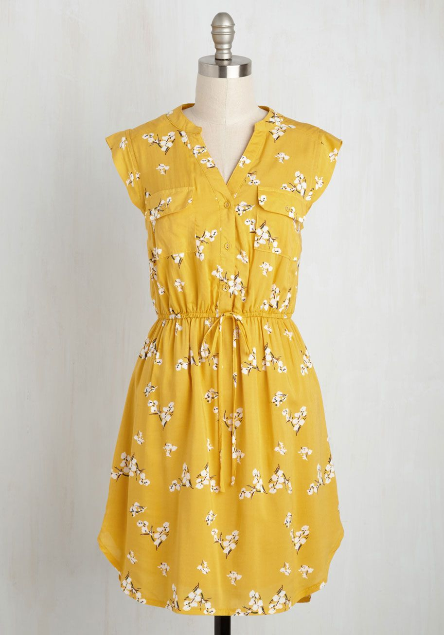 dd3d5699f97 A Way With Woods Dress in Sunshine. Arriving at the picnic shelter in this  yellow dress, you present your foraged feast for all to enjoy! #yellow # modcloth