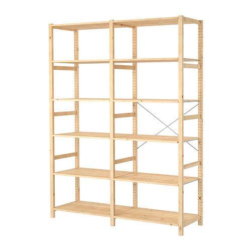 Ikea Regal Ivar ivar 2 section shelving unit pine shelves pine and basket shelves