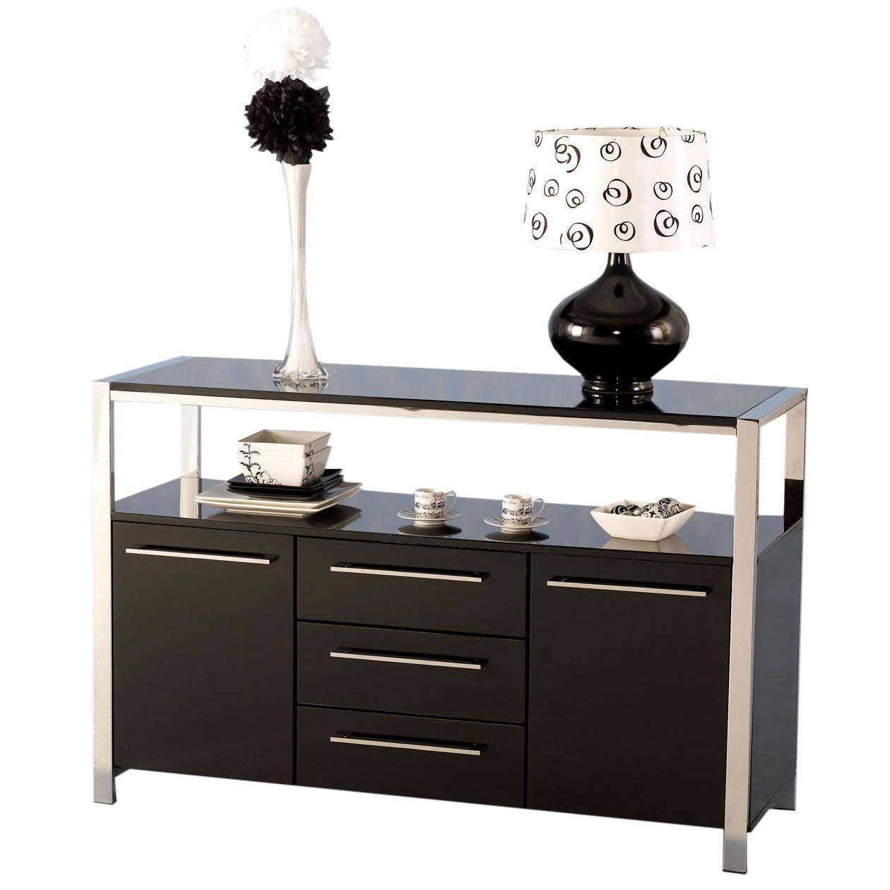 Charisma Modern Stylish Black Gloss /& Chrome 2 Door 3 Drawer Storage Sideboard