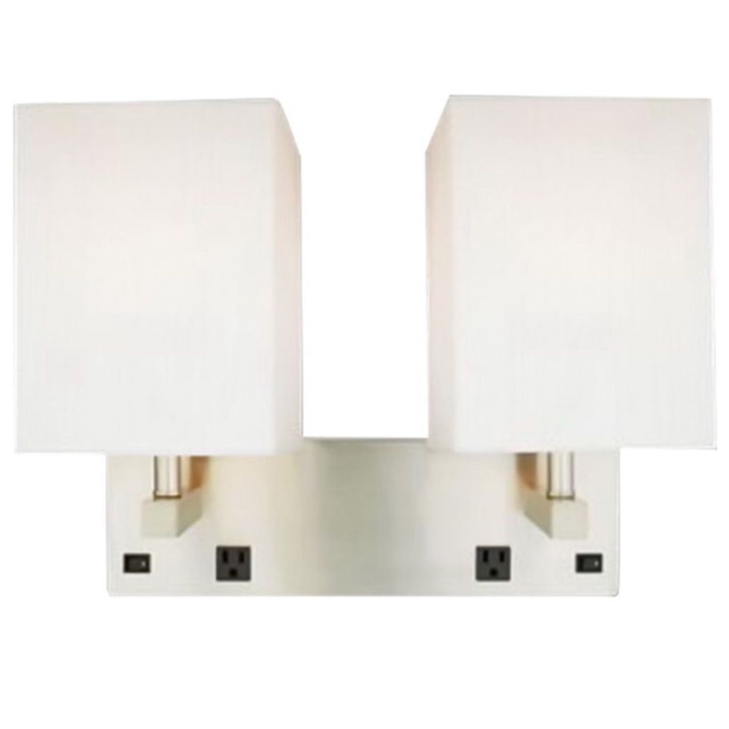 Brushed Nickel 2 Light Wall Sconce With 2 Outlets And On Off Switch Plug In Or Hardwired Sconces Wall Sconce Lighting Wall Lights