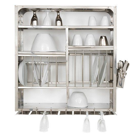 A Luxury Item For Small Kitchens: A Stainless Steel Wall Mounted Dish Rack