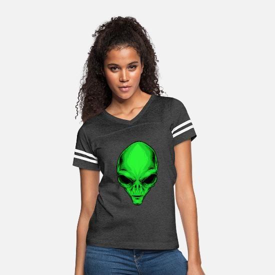 Alien head Party Halloween Women's Vintage Sport T-Shirt - white/black #area51partyoutfit